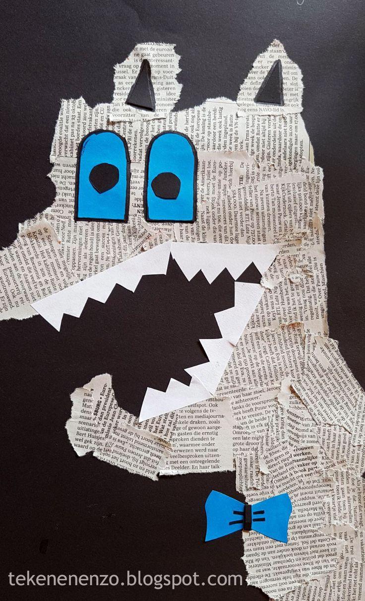 Voor de Kinderboekenweek 2017! Benodigdheden: zwart knutselpapier oude kranten restjes gekleurd papier scharen lijm Scheur uit ...