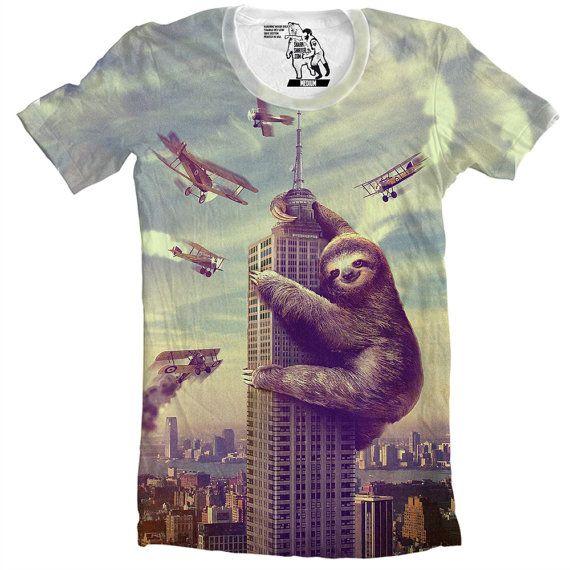 Hey, I found this really awesome Etsy listing at https://www.etsy.com/listing/89769440/sloth-slothzilla-mens-tee-sloth-shirt