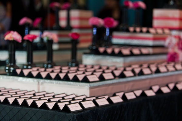 escort cards for this fashionable black and pink wedding, escort card ideas, wedding inspiration