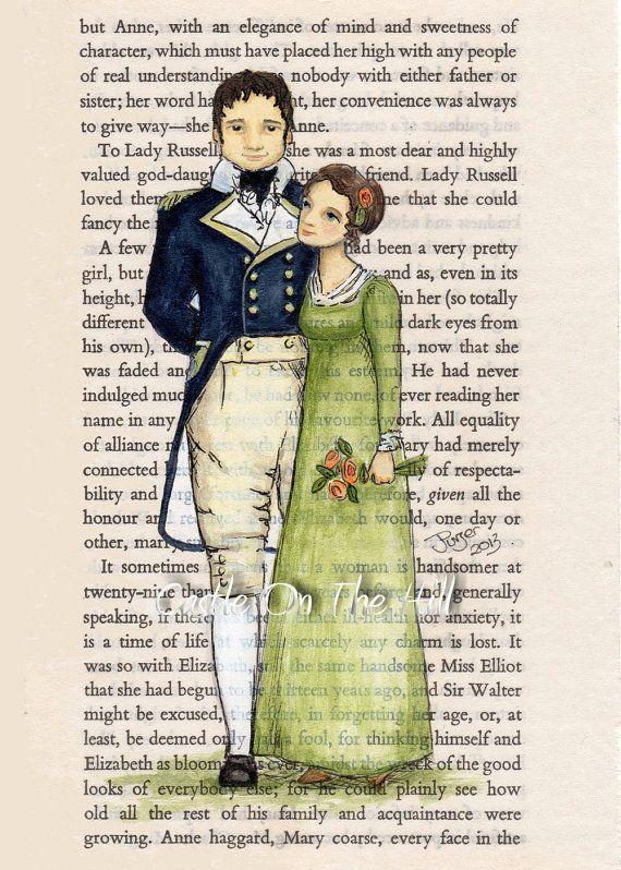 best persuasion by jane austen ideas jane items similar to anne elliott and captain wentworth persuasion print 5 x 7 jane austen on