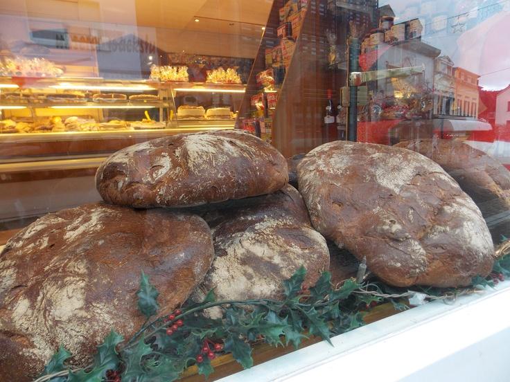 Bread loafs in the bakery window, in Mettlach, Germany