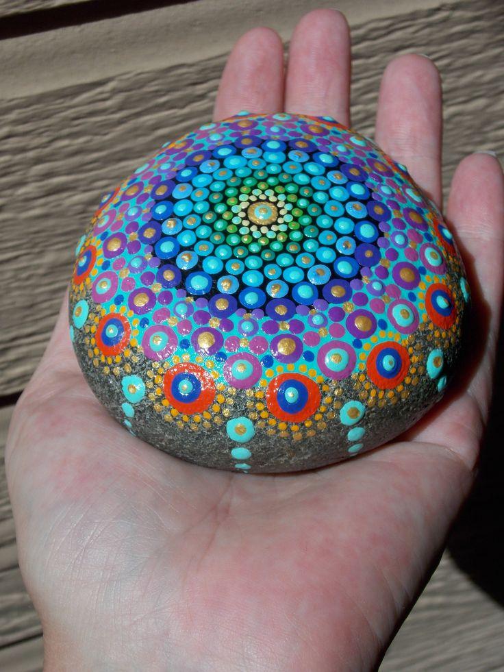 Mandala Stone, Dot Painted Stone, Sacred Geometry, Dot Mandala, Meditation Stone, Art by Kaila Lance, Hand painted, Gift Wrapped by KailasCanvas on Etsy
