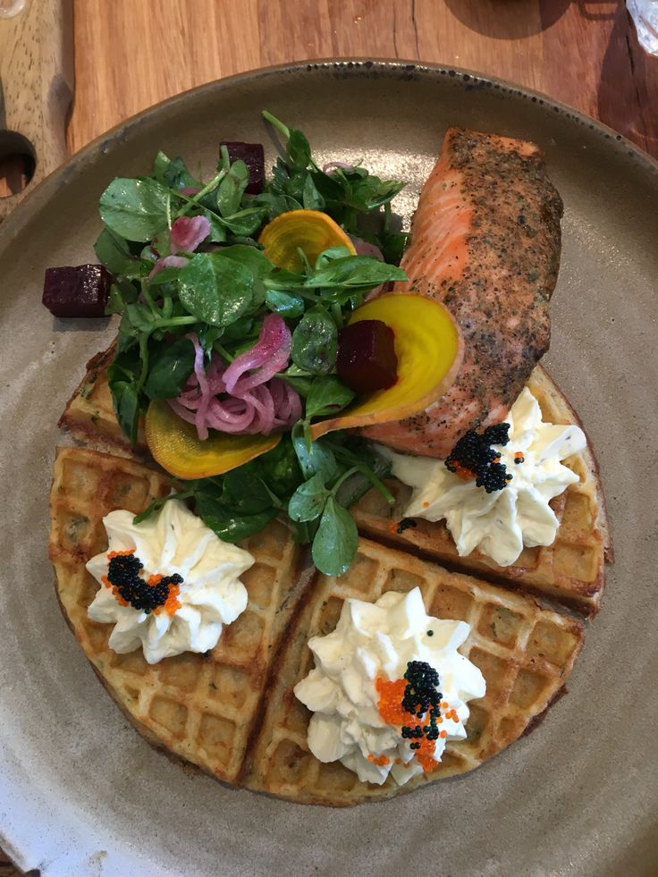 Baked Ocean Trout, potato waffle, horseradish crème fraîche, trout roe & caviar, grilled cucumber, smashed pea, beetroot & pickled red onion salad @Red Door Corner Cafe, Northcote