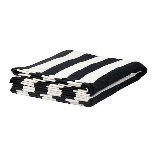 Black and white striped IKEA blanket
