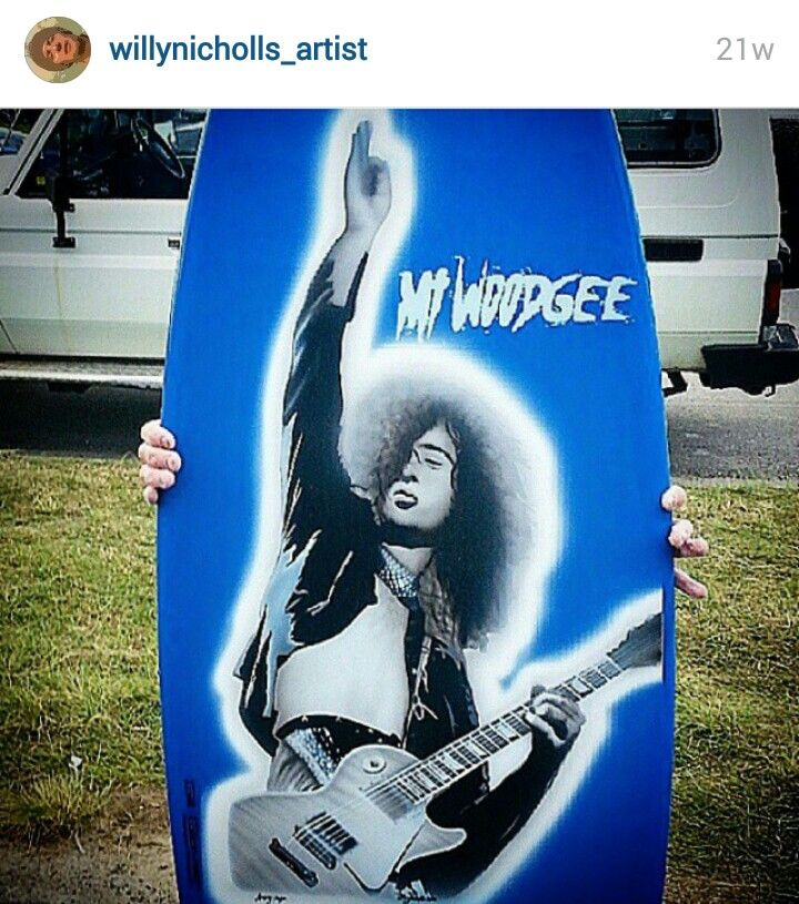 JIMMY PAGE ..ORIGINAL AIRBRUSH BY WILLY NICHOLLS 2015..