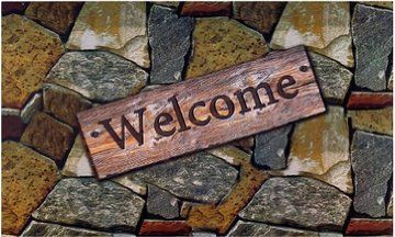 Achim Home Furnishings Outdoor Rubber Mat, Welcome Quarry Stones