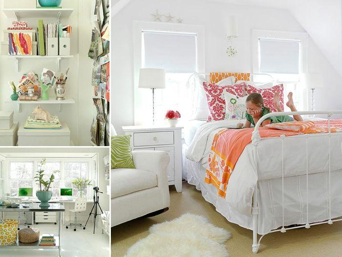 White And Orange Bedroom @LaylaGrayce #laylagrayce #blog
