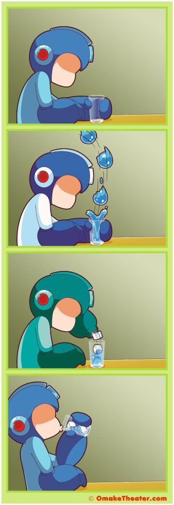 Why does Mega Man [ ロックマン] seems so depressed? It's probably because he hasn't defeated Gin & Tonic Man yet.  Just in case you're wondering, both powers in this 4koma are from Mega Man 10 [ロックマン10]. Panel two is Pump Man's water shield and panel 3 is Chill Man's chill spike (slightly modified, of course).    Awesome 4 panel comic (yonkoma/4-koma) strip :)