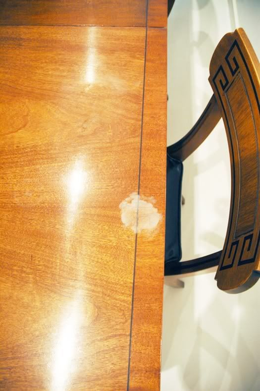 How To Get That Heat Stain Out Of Your Wood Our Dining Room Table Has This Exact Problem