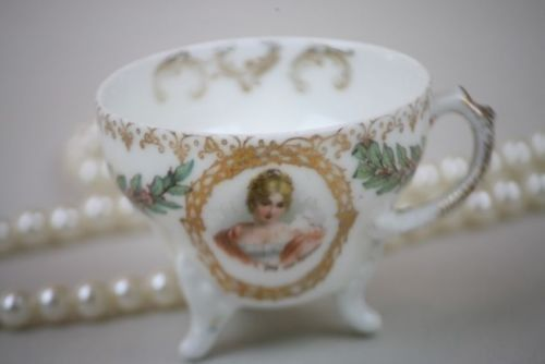 Antique Portrait Demitasse Tea Cup Female Gold Trim Laurel Berry Leaves Germany