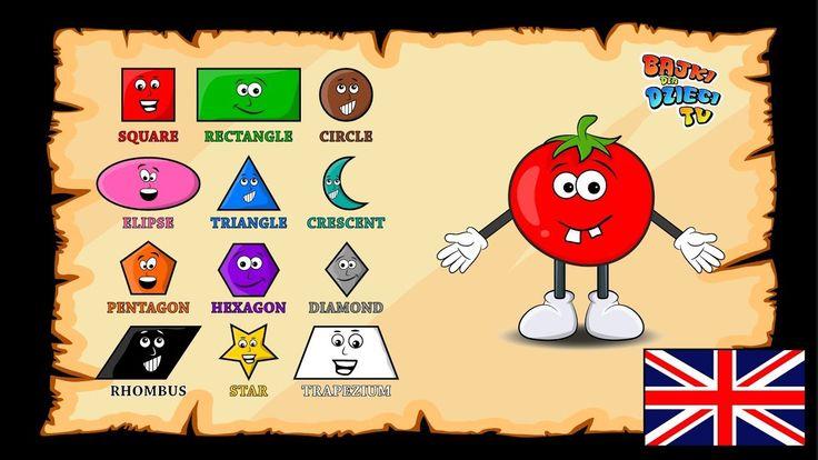 Nauka figur po angielsku dla dzieci. Uczę się angielskiego z pomidorkiem...