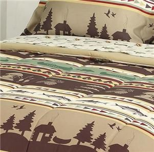 Queen Rustic Lodge Cabin Lake Fishing Outdoor Theme Comforter Bed Bag Set New | eBay