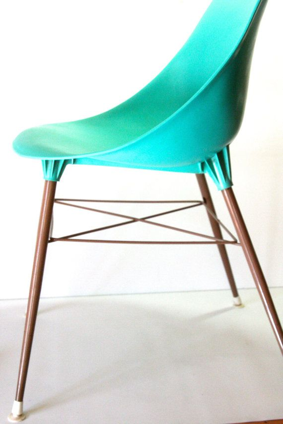 Vintage Turquoise Teal Aqua Molded Plastic Shell Chair In