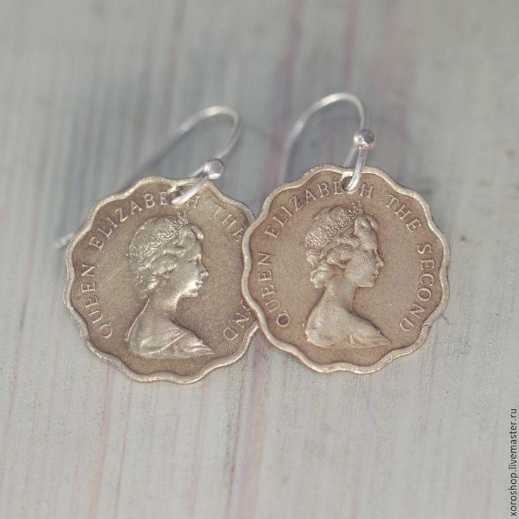 Купить серьги из монет с Елизаветой 1982, 1979, 1977 годы - золотой, бохо, винтаж, монета