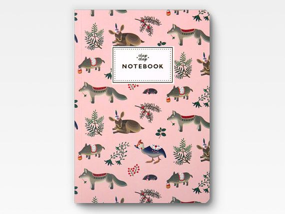 Forest Animals Notebook  Pink  by clapclapdesign on Etsy, $16.00