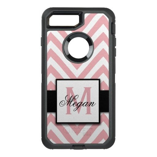 GIRLY, CORAL PINK CHEVRON PATTERN OtterBox DEFENDER iPhone 7 PLUS CASE