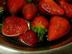 Keep strawberries from molding: Make a mixture of 1/4 cup apple cider vinegar and 2 1/2 cups of water. Soak berries, drain. They will last  last in refrigerator. (Kills all mold  bacteria) -- Good to know. by Nina<3