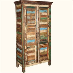 Appalachian Rustic Old Wood Patchwork Armoire Cabinet