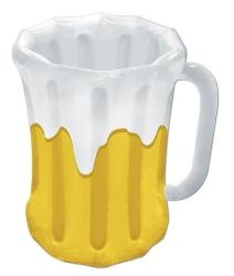 1 - Large inflatable beer mug measures 18 inches W x 27 inches H and holds approximately fourty eight 12 oz. cans. Not intended for children or as a life saving device.