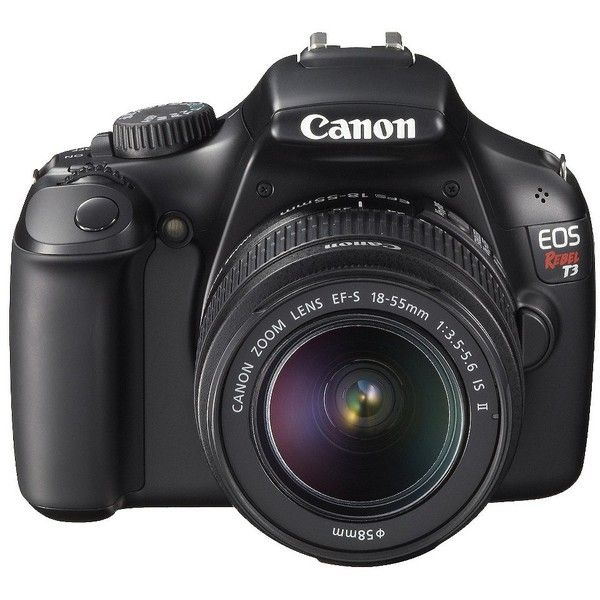 Canon EOS Rebel T3 12.2MP Digital SLR Camera with 18-55IS Lens Black ($450) ❤ liked on Polyvore