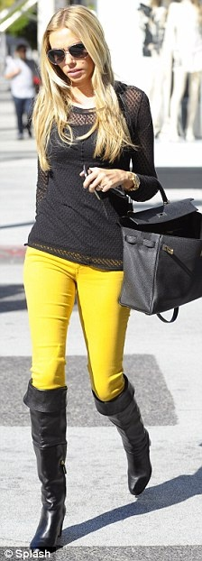 Love Petra Ecclestone's bright yellow jeans here <3 Amy
