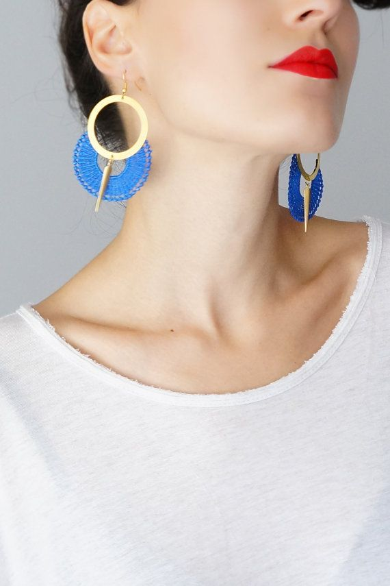Hey, I found this really awesome Etsy listing at https://www.etsy.com/listing/200454835/ocri-hoop-earrings-royal-blue-earrings