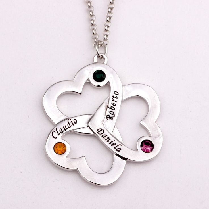 Personalized Triple Heart Necklace with Birthstones 2017 New Arrival Long Birthstone Necklaces Custom Made Any Name YP2493