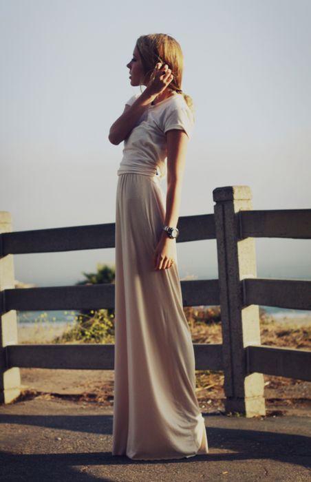 casual white tee + blush maxiskirt