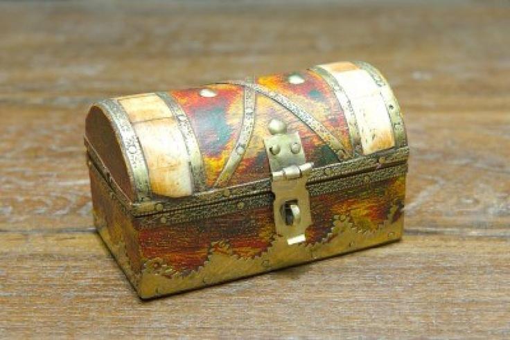 Mooie Gerenoveerde Kleine Antieke Sieraden Box Gemaakt