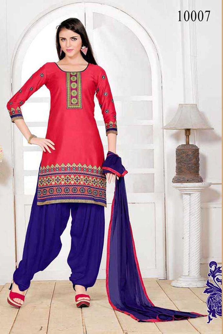 Pink Cotton Punjabi Suit