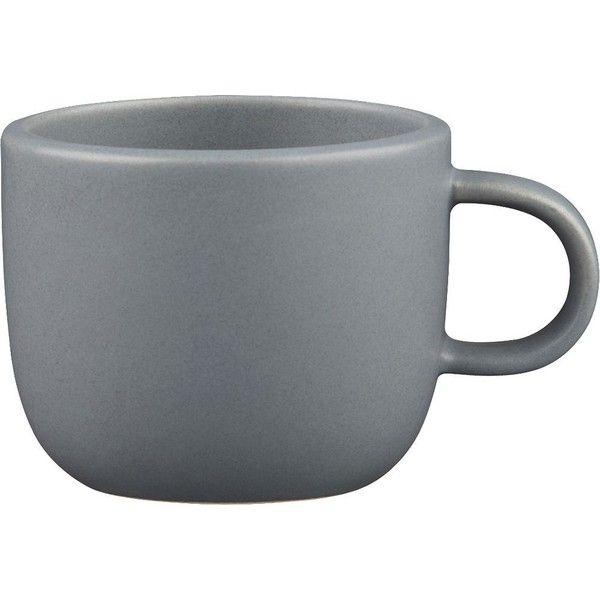 CB2 Doppio Matte Grey Mug (3.32 CAD) ❤ liked on Polyvore featuring home, kitchen & dining, drinkware, fillers, food and drink, extras, kitchen, stacking mugs, handmade mugs and cb2