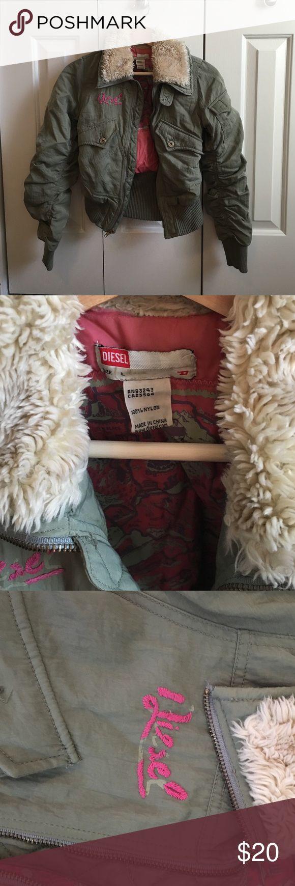 Girls Diesel coat Size L girls fur lined cropped coat. Diesel Jackets & Coats