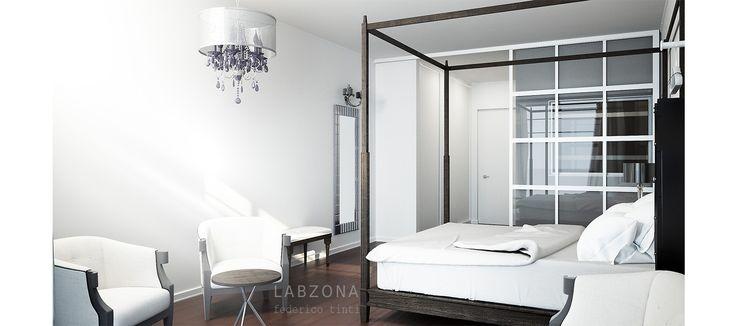 hotel albergo camera letto bedroom Interior design brescia baldacchino poltrona harmchair tavolino table