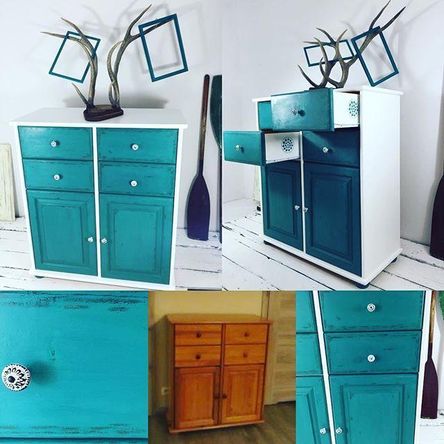 Ostateczna odsłona komody. Final dresser look. #florence #provence #anniesloan #turquise #handpainted #handmade #cabinet #pine  #wood #chalkpaint #frames #fromoldtonew #furniture #furnituremakeover