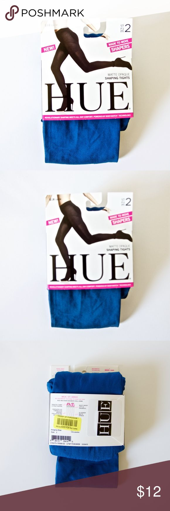"""NWT HUE Blue Opaque Tights Matte Opaque Shaping tights in Insignia Blue. Has wide waist band, minimizing roll down, tummy and thigh shaping, graduated leg compression to improve circulation, and booty lift and enhance. Also has Smart Temp, which manages body heat for optimal temperature control. Size 2, which is equivalent to 5' 5"""" - 6' 0"""" height and 120 - 170 lbs. In original packaging, never been used! HUE Accessories Hosiery & Socks"""