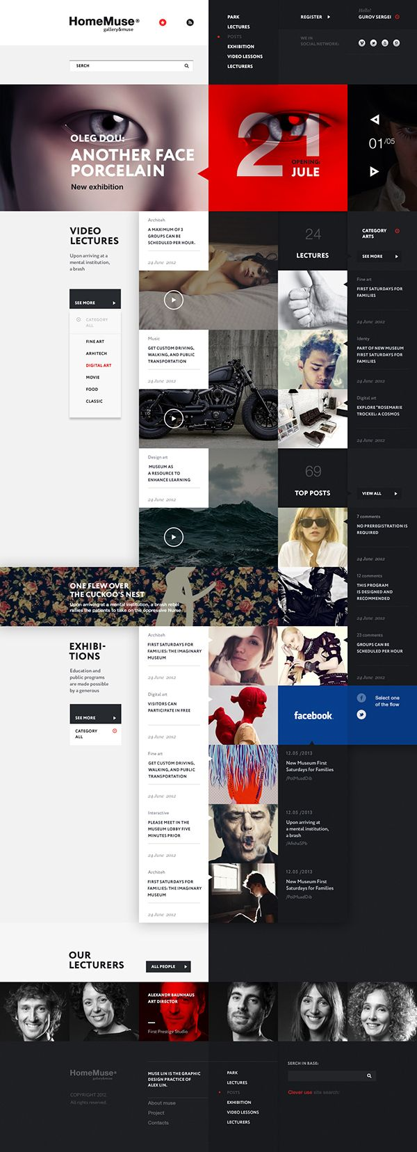 Grid based Website Design - HomeMuse Gallery by Sergei Gurov, via Behance