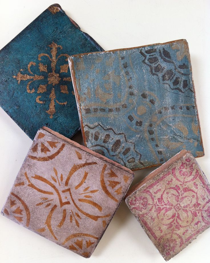 Maison Collection: hand-painted terra cotta #tiles inspired by French, Portuguese and Moroccan designs