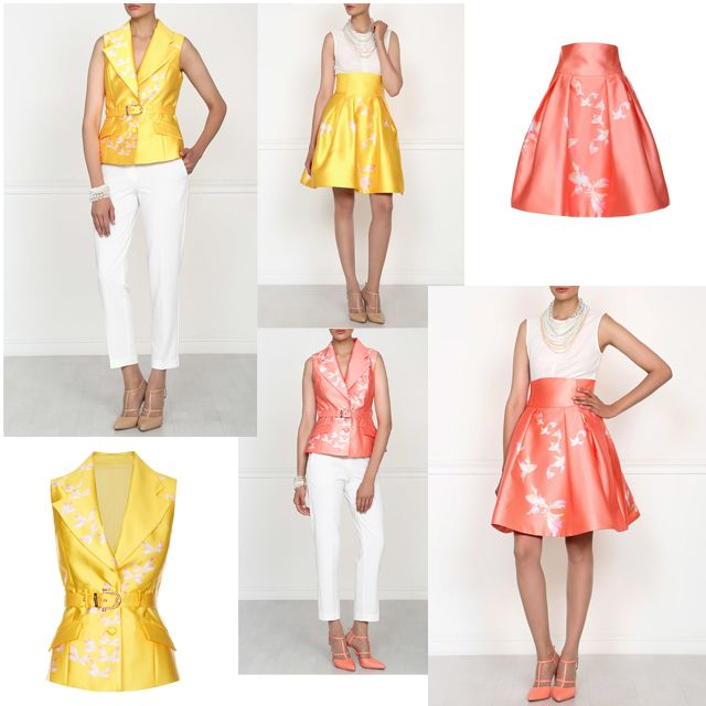 New arrivals!  Embellished with elegant floral and animal motives - yellow and pink vests and skirts.