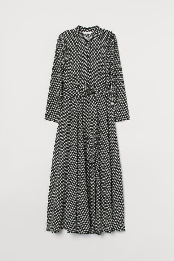 kleid aus lyocellmischung schwarz weiss gepunktet ladies