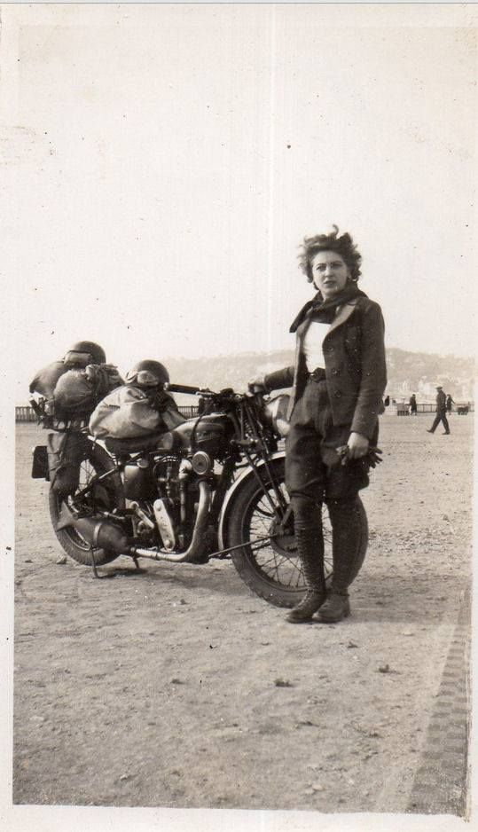 Girl and her motorcycle ~vintage fashion style photo print found leather jacket riding pants boots casual sports wear 30s 40s ?
