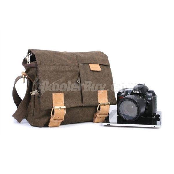 Koolertron Brown tela a tracolla portatile Borse fotocamera da 10 PC