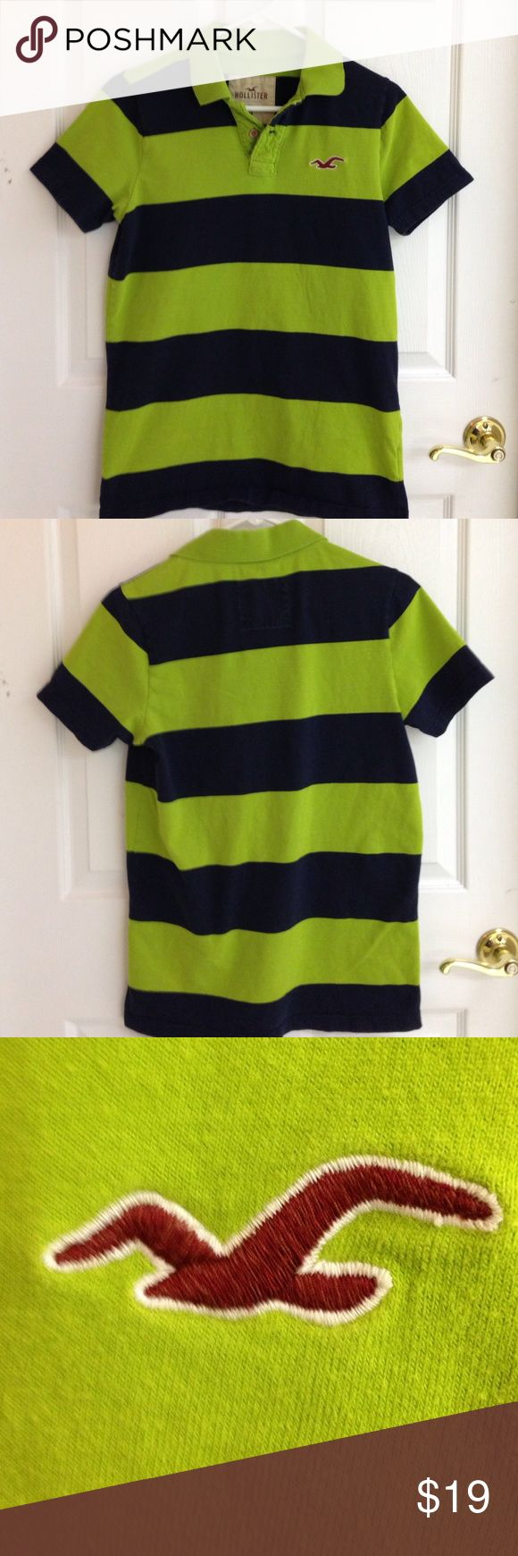 Hollister Polo Shirt Hollister navy blue and green polo shirt. Short sleeves. 100% cotton. In excellent pre used condition. Size M Hollister Shirts Polos