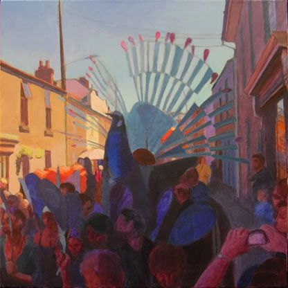 The original of this painting entitled Peacock Summer, measuring approx 75 x 75 cms was sold in a benefit auction to support Lafrowda Festival in St Just in July 2012. Click the picture or 'visit site' to access a link to its Artstack page where there are 'zoom' and 'view in room' facilities.