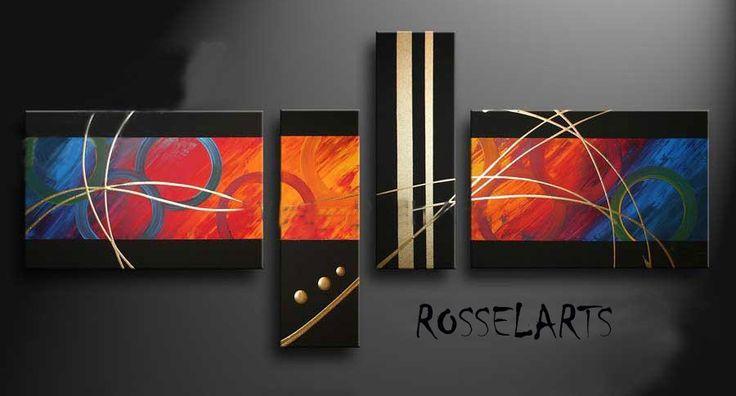 Cuadros modernos hechos a mano tripticos polipticos - Fotos cuadros abstractos ...