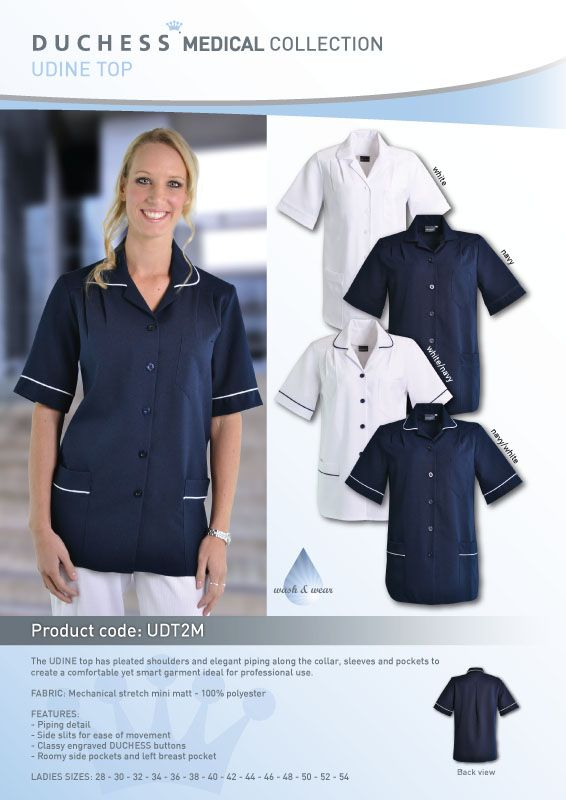 Looking smart isn't difficult with the Udine Nurses Top.Designed for the Nursingindustry, this nurse uniform can also be used in beauty salonsand the Corporate environment.The Udine blouseis made from mini matt polyester which is a great wash & wear shirt!    •Mechanical stretch mini matt - 100% polyester • Left breast pocket and Roomy side pockets • Classy engraved DUCHESS buttons • Piping detail for added medical style • Ladies plussize shirts: 28 - 30 - 32 - 34 - 36 -38 - 40 - 42…