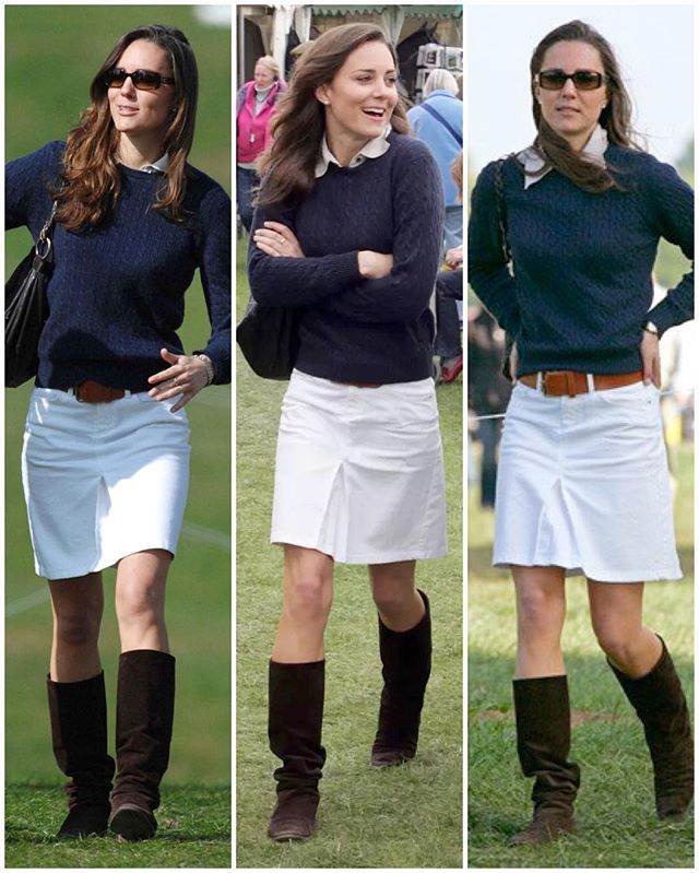 Darling Kate ten years ago in a white denim Zara skirt at the Badminton Horse Trials in Gloucestershire. Her look here sort of reminds me of a Ralph Lauren ad 🐎 @katemidleton