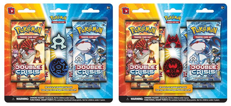 Pokemon TCG Double Crisis Aqua Vs Magma: Choose your team and declare your loyalty! Inside, you'll find: • 4 Pokémon TCG: Double Crisis 7-card booster packs! • 28 cards in all, including 8 foil cards! • A collector's pin and matching coin featuring the Team Magma or Team Aqua logo! • A code card for the Pokémon TCG Online!