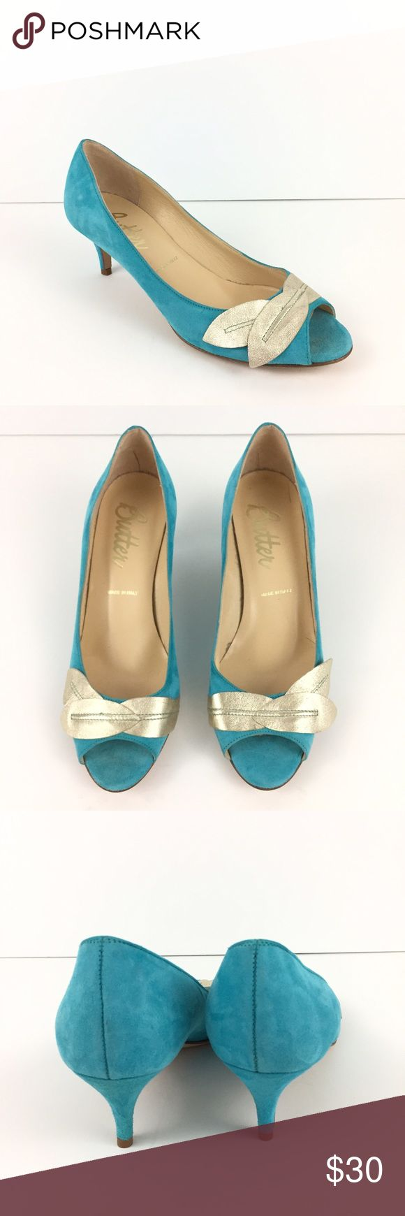 """Butter Teal Blue Gold Leaf Open Toe Heels Italy Made of a teal blue suede leather upper with gold leaf accent. Open toed with 2"""" kitten heels.  New without original tags or box. Butter Shoes Shoes Heels"""