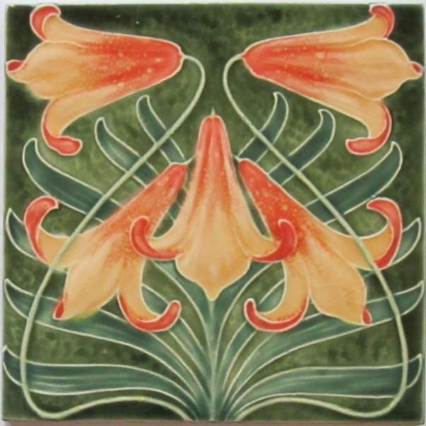 Superb glazes define this rare relief-molded tile by the French maker, Utzschneider which was located in Sarreguemines (and used to be known as Saargemund), France, c. 1896-1910. French art nouveau...