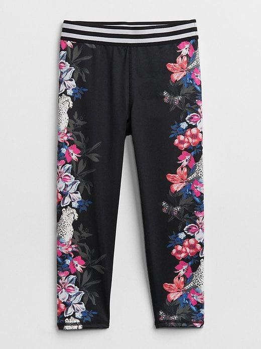 751582355ec70 Gap Girls Gapfit Kids Jungle Print Leggings Black Floral | Products ...